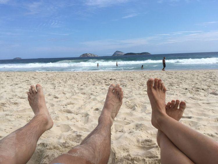 Lazulás az Ipanema tengerparton